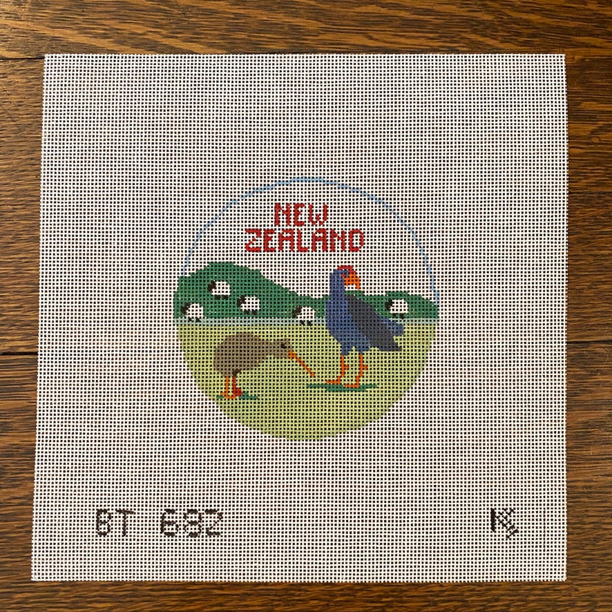 New Zealand Travel Round Canvas-Needlepoint Canvas-KC Needlepoint