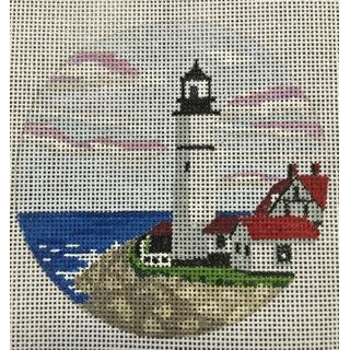 Portland Head Light Travel Round Canvas-Needlepoint Canvas-Purple Palm-KC Needlepoint