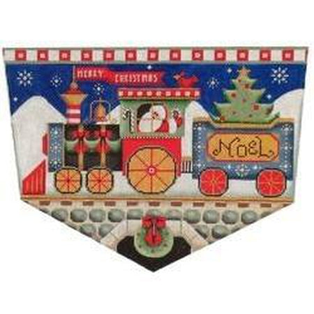 Santa's Train Christmas Stocking Topper-Needlepoint Canvas-Rebecca Wood Designs-13 mesh-KC Needlepoint