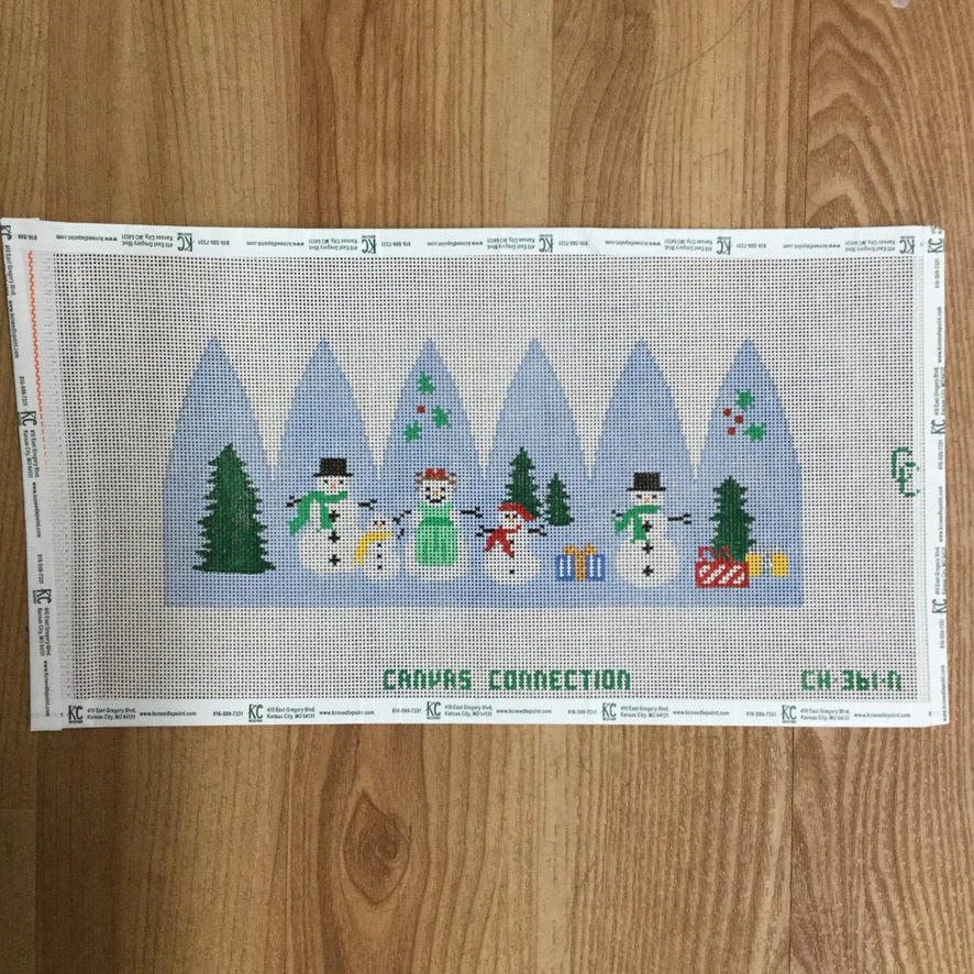 Holiday Snowman Carousel Canvas - needlepoint