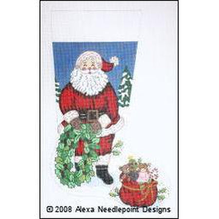 Santa with Wreath & Bag Stocking Canvas-Needlepoint Canvas-Alexa Needlepoint Designs-KC Needlepoint
