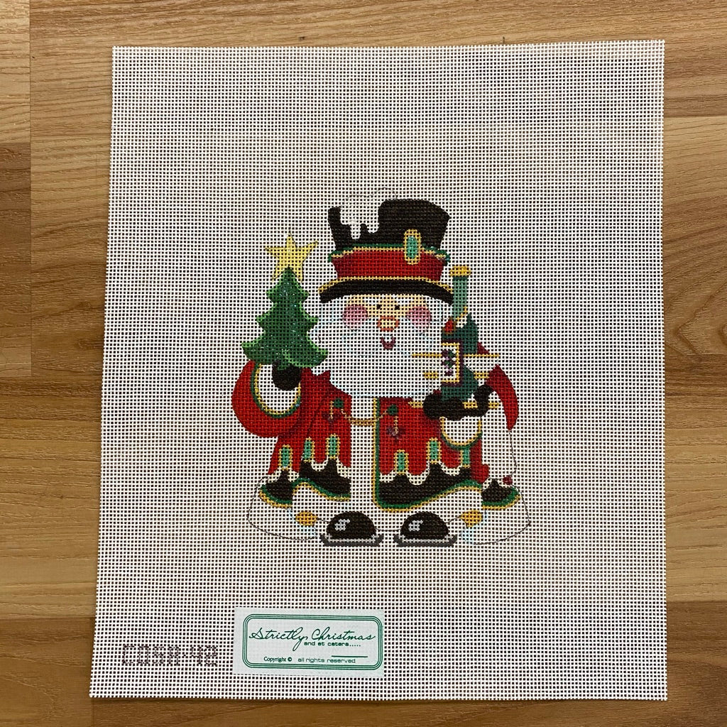 Squatty Santa with Champagne Canvas - needlepoint