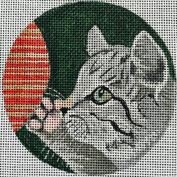 Tabby Cat Round Canvas-Needlepoint Canvas-Purple Palm-KC Needlepoint
