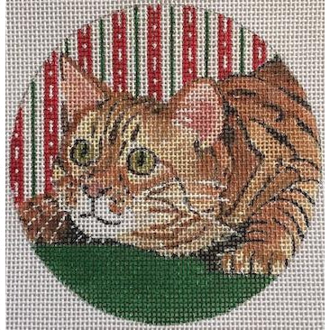 Bengal Cat Round Canvas-Needlepoint Canvas-Purple Palm-KC Needlepoint