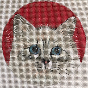 Birman Round Canvas-Needlepoint Canvas-Purple Palm-KC Needlepoint