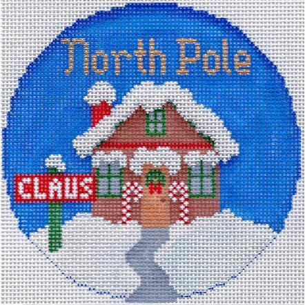 "North Pole 4"" Travel Round Ornament Canvas-Needlepoint Canvas-Colonial Needle-KC Needlepoint"