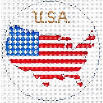 "USA 4"" Travel Round Needlepoint Canvas-Needlepoint Canvas-Silver Needle-KC Needlepoint"