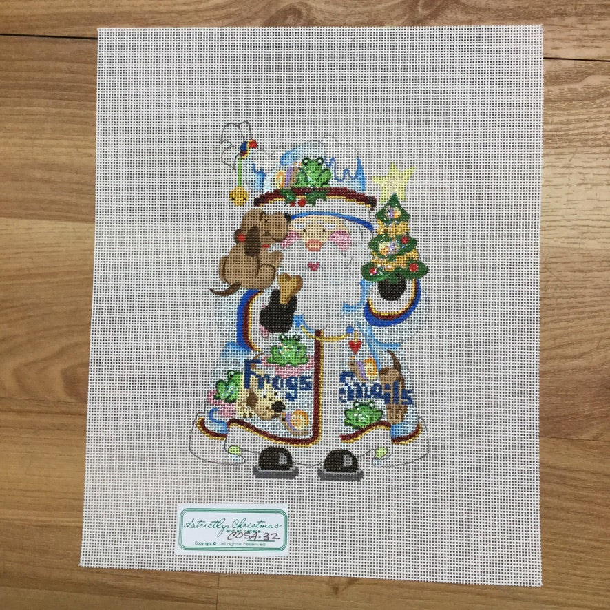 Frogs and Snails Squatty Santa Canvas-Needlepoint Canvas-Strictly Christmas-KC Needlepoint