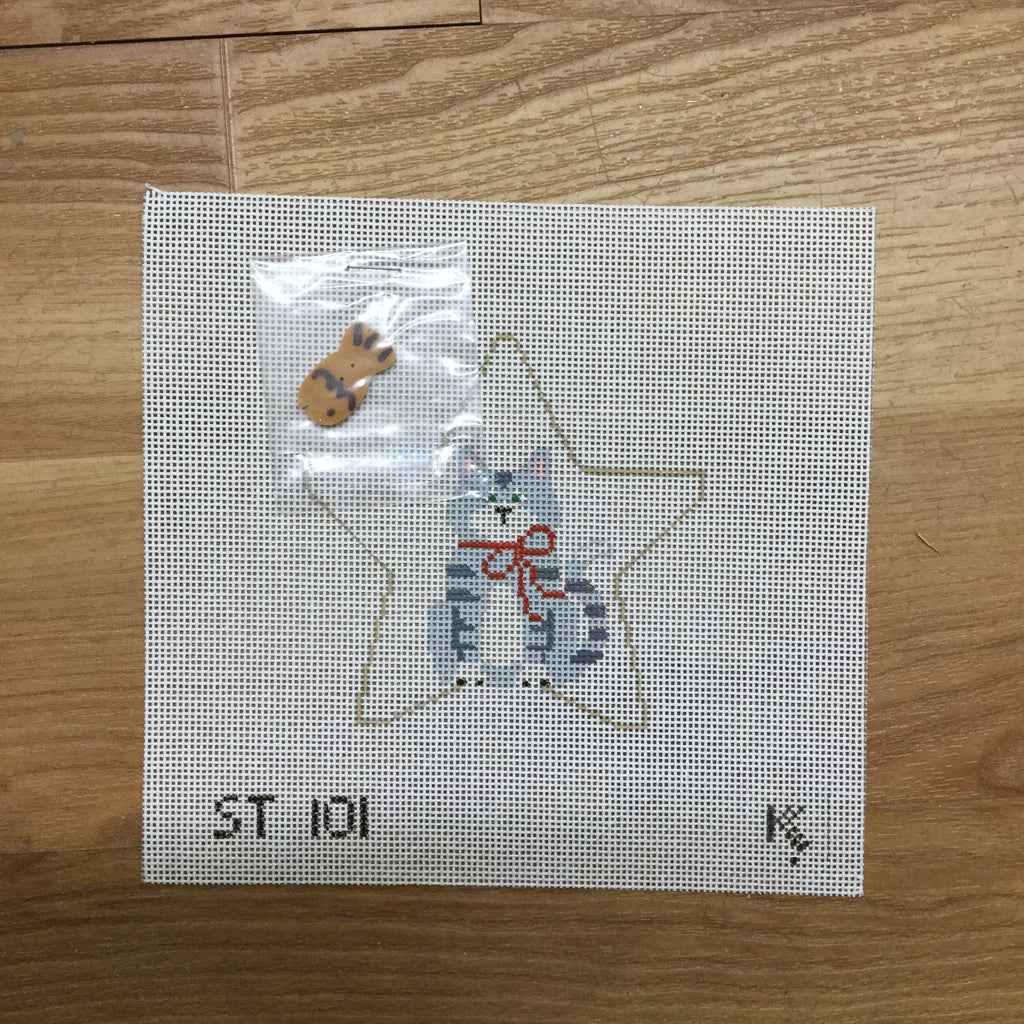 Tabby Cat with Fish Star Canvas - KC Needlepoint