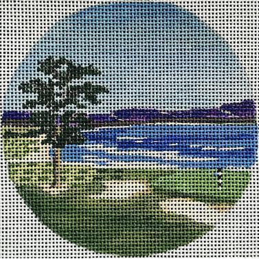 Pebble Beach Travel Round Canvas-Needlepoint Canvas-Purple Palm-KC Needlepoint