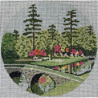Augusta Travel Round Canvas-Needlepoint Canvas-Purple Palm-KC Needlepoint