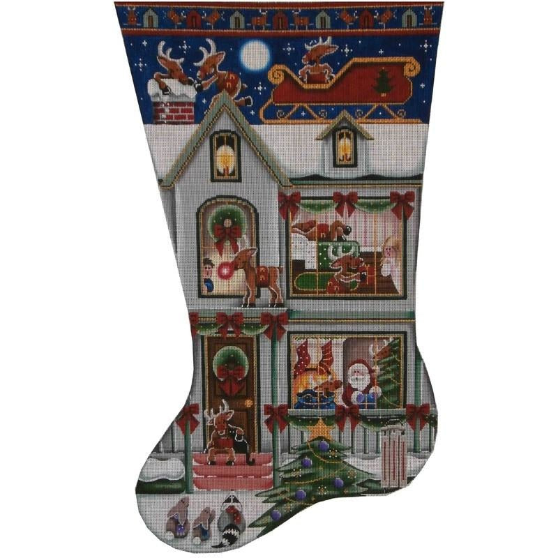 Snooping Reindeer Christmas Stocking - needlepoint