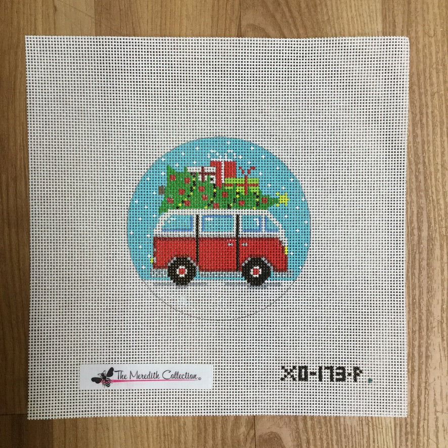 Micro Bus Christmas Canvas - needlepoint