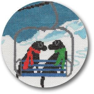 Ski Lift Love - needlepoint