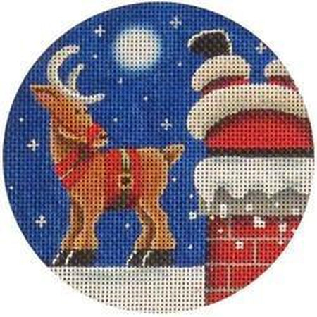Upside Down Round-Needlepoint Canvas-Rebecca Wood Designs-KC Needlepoint