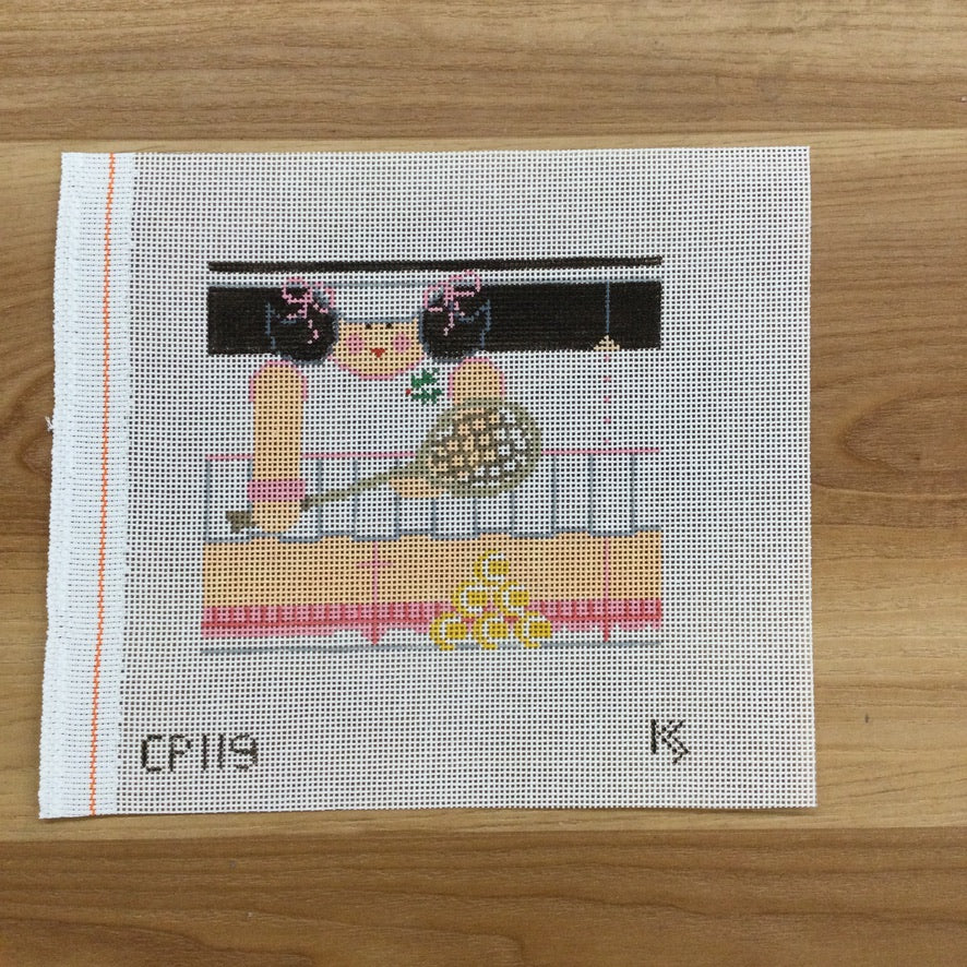 Tennis Girl Roll-Up Canvas - KC Needlepoint