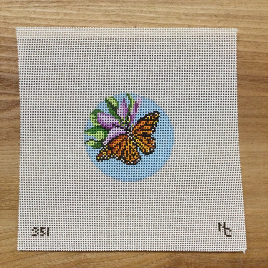 Monarch Round Canvas - needlepoint