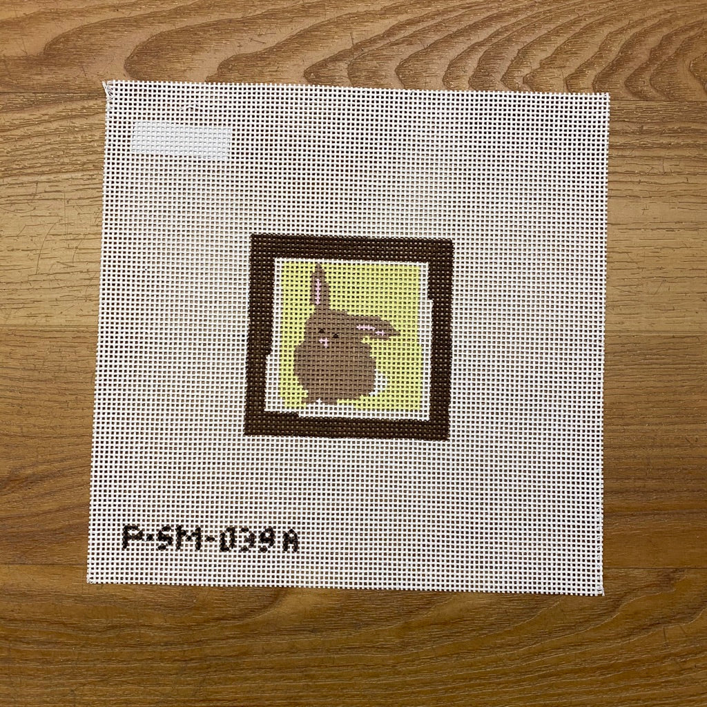 Bunny Yellow Background Canvas - needlepoint