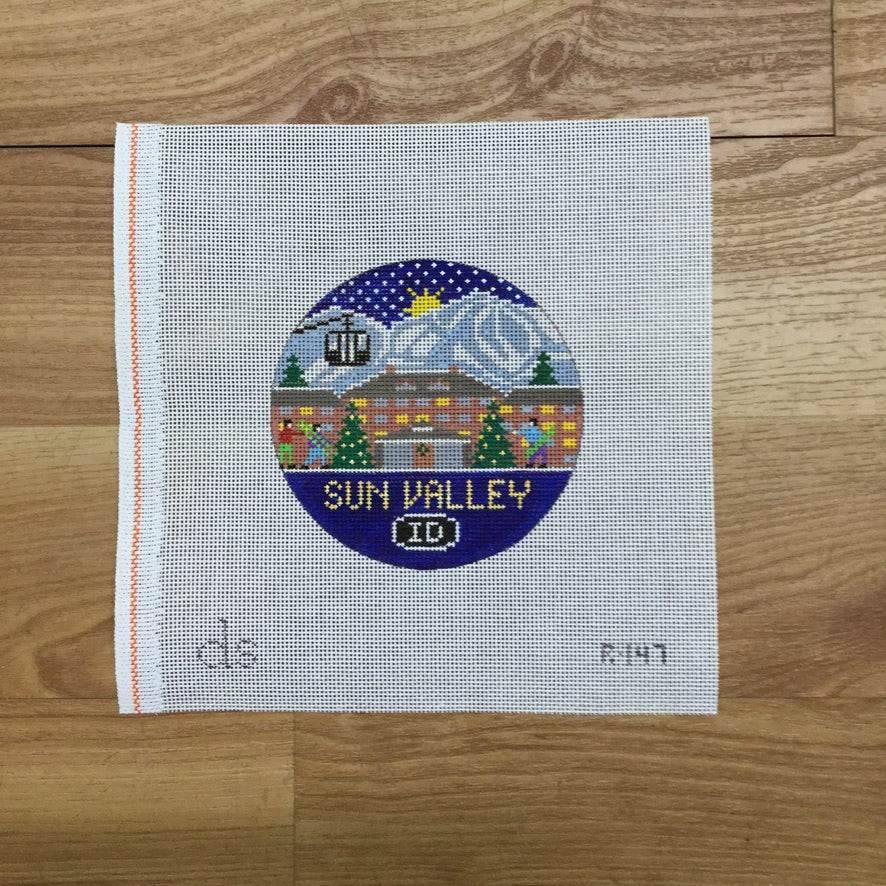 Sun Valley Travel Round Needlepoint Canvas-Needlepoint Canvas-KC Needlepoint