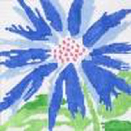 Medium Blue Splash Flower Canvas - KC Needlepoint