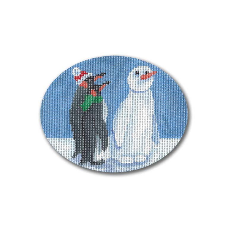 Snowman & Penguins Canvas - needlepoint