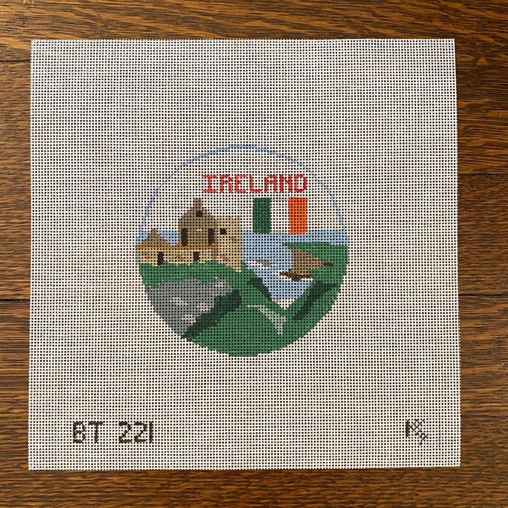 Ireland Travel Round Canvas-Needlepoint Canvas-KC Needlepoint