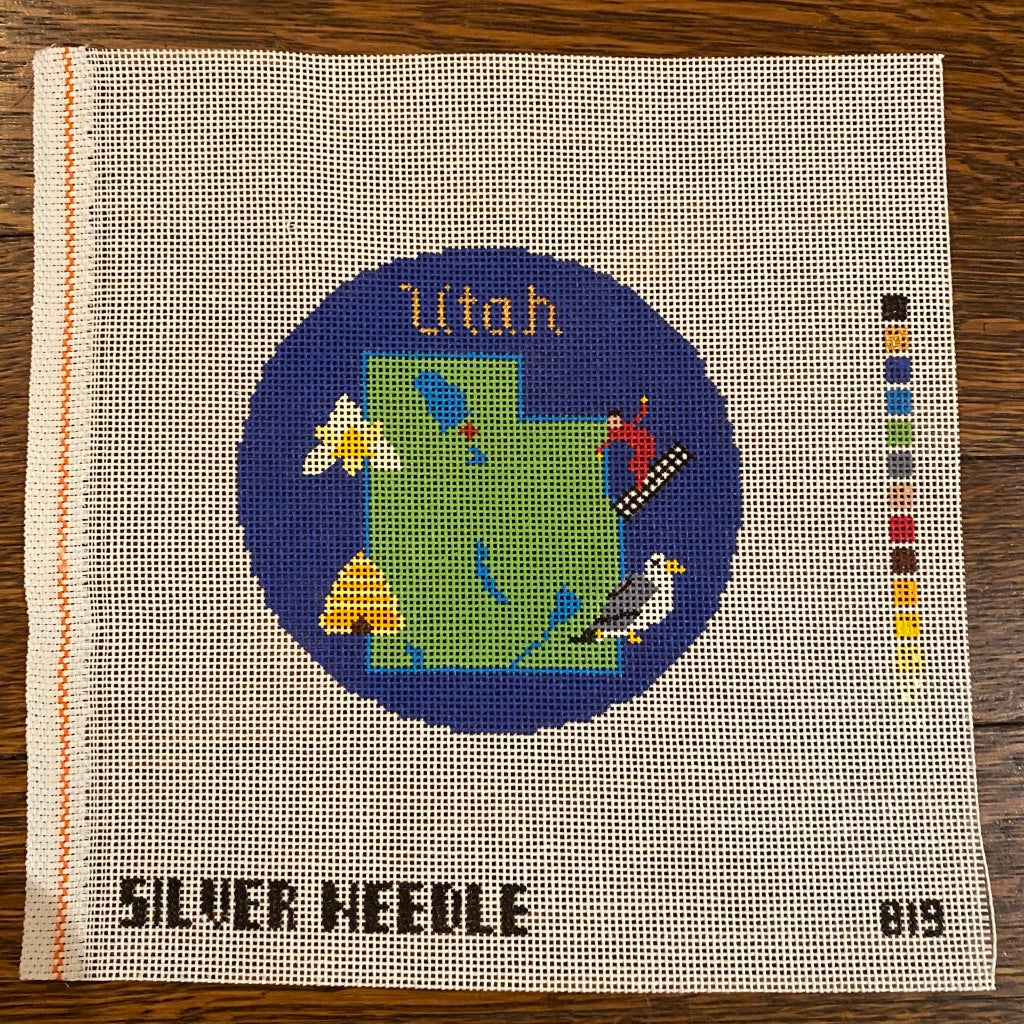 "Utah 4 1/4"" Travel Round Needlepoint Canvas"