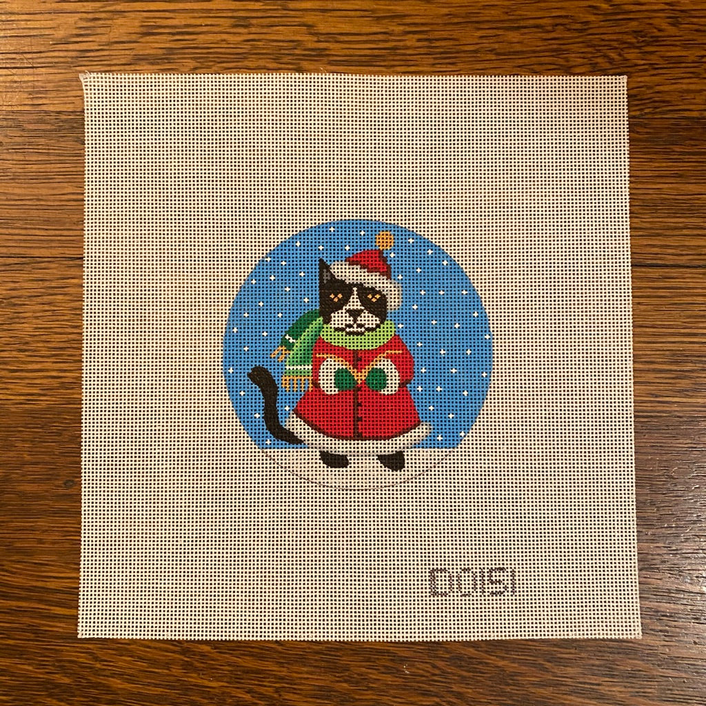 Caroling Cat Ornament Canvas - needlepoint