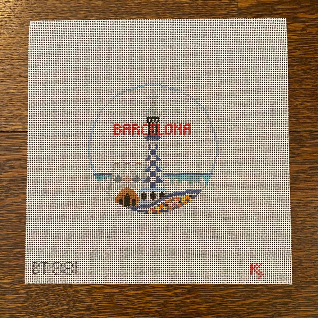 Barcelona Travel Round Canvas-Needlepoint Canvas-KC Needlepoint