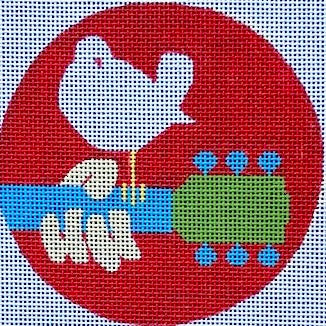 Woodstock Logo Round Canvas-Needlepoint Canvas-Purple Palm-KC Needlepoint