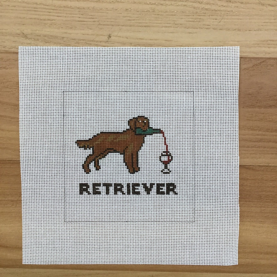 Retriever (Red Wine) Square Canvas - needlepoint
