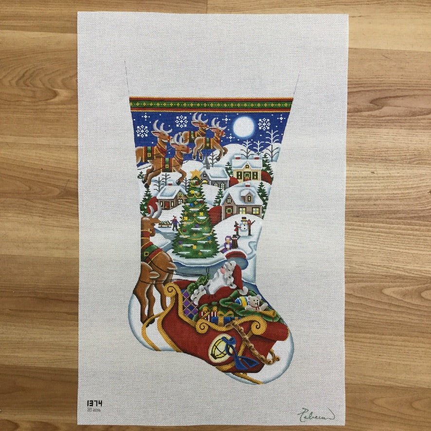 Village Christmas Stocking Canvas