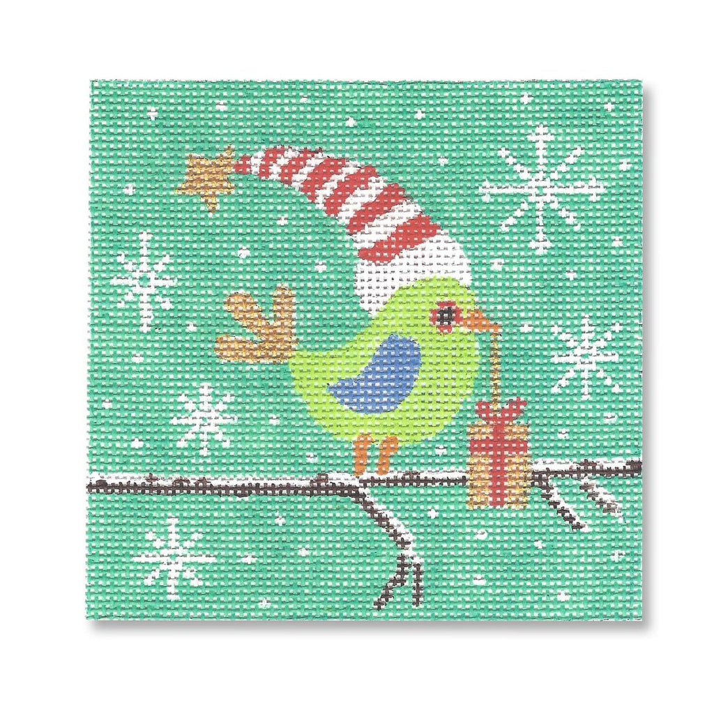 Bird with Present Canvas - needlepoint
