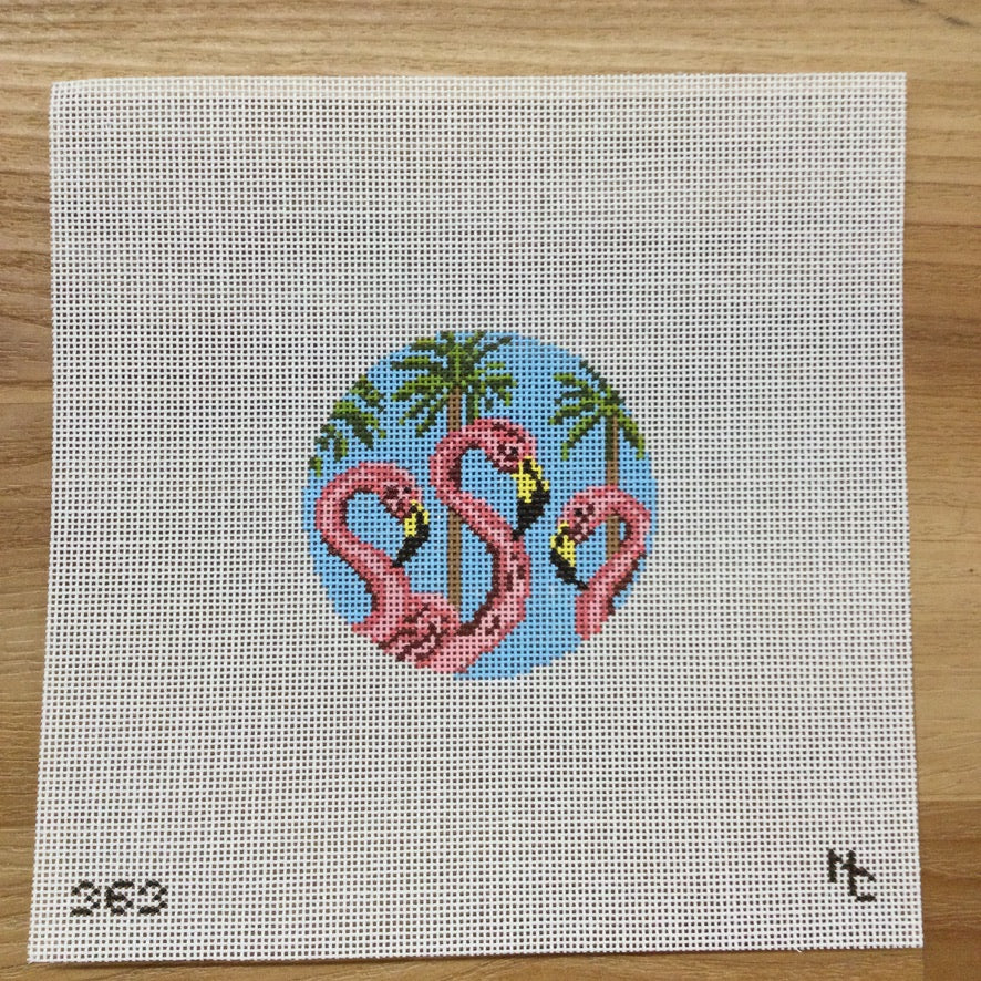 Flamingo Trio Round Canvas - needlepoint