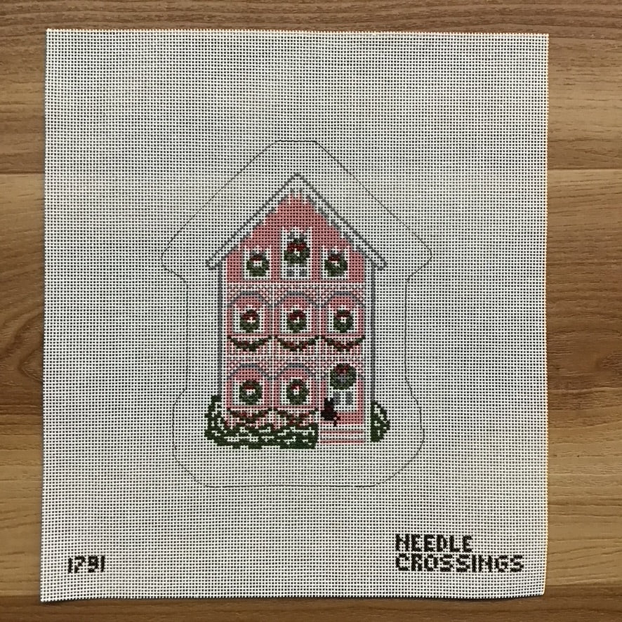 Pink House Ornament Canvas - KC Needlepoint