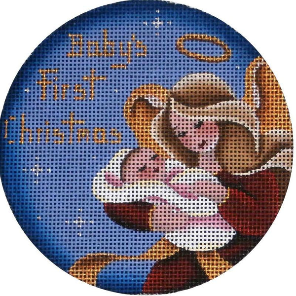 Baby Girl's First Christmas Angel Round - needlepoint