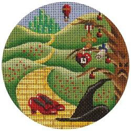 Yellow Brick Road Round Canvas-Needlepoint Canvas-Rebecca Wood Designs-KC Needlepoint