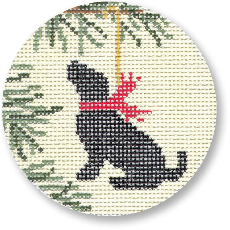 Black Lab Ornament Canvas - needlepoint