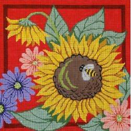 Sunflowers and Bee on Red Canvas - needlepoint