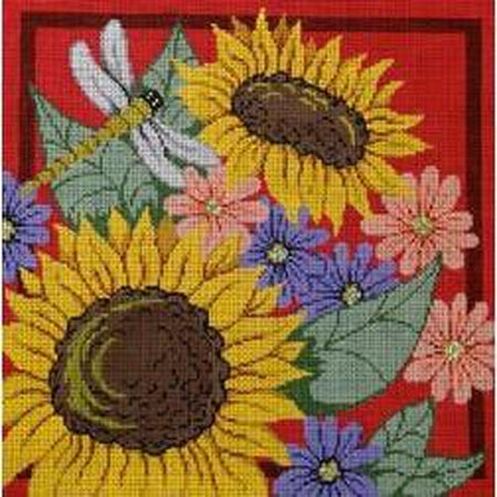 Sunflowers and Dragonfly Canvas-Needlepoint Canvas-Patti Mann-13 mesh-KC Needlepoint