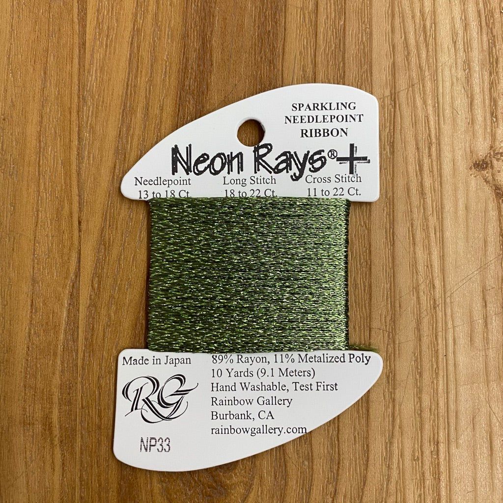 Neon Rays+ NP33 Loden Green - KC Needlepoint