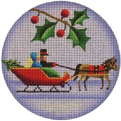 Red Sleigh Round Canvas - needlepoint