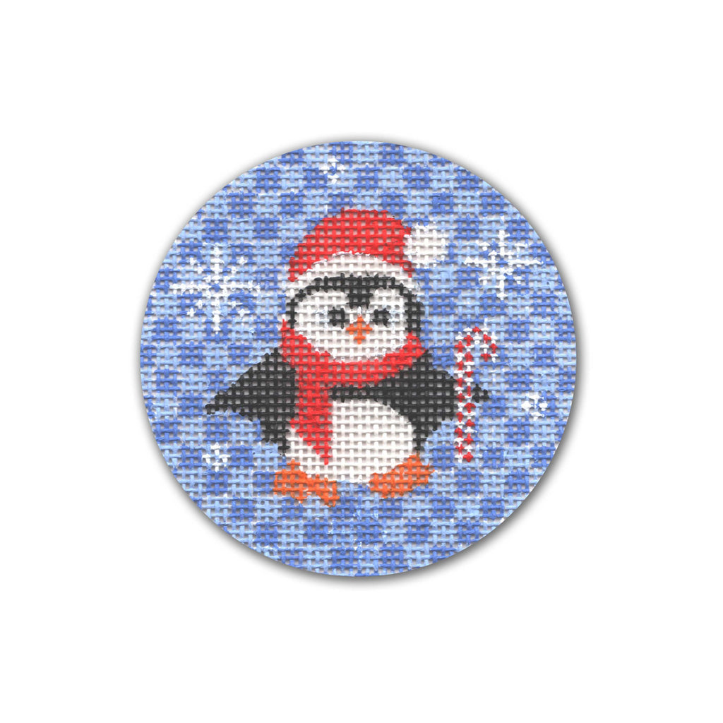 Penguin with Candy Cane Canvas - needlepoint