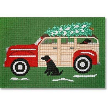 Red Woody with Dog Canvas-Needlepoint Canvas-CBK Needlepoint-13 mesh-KC Needlepoint