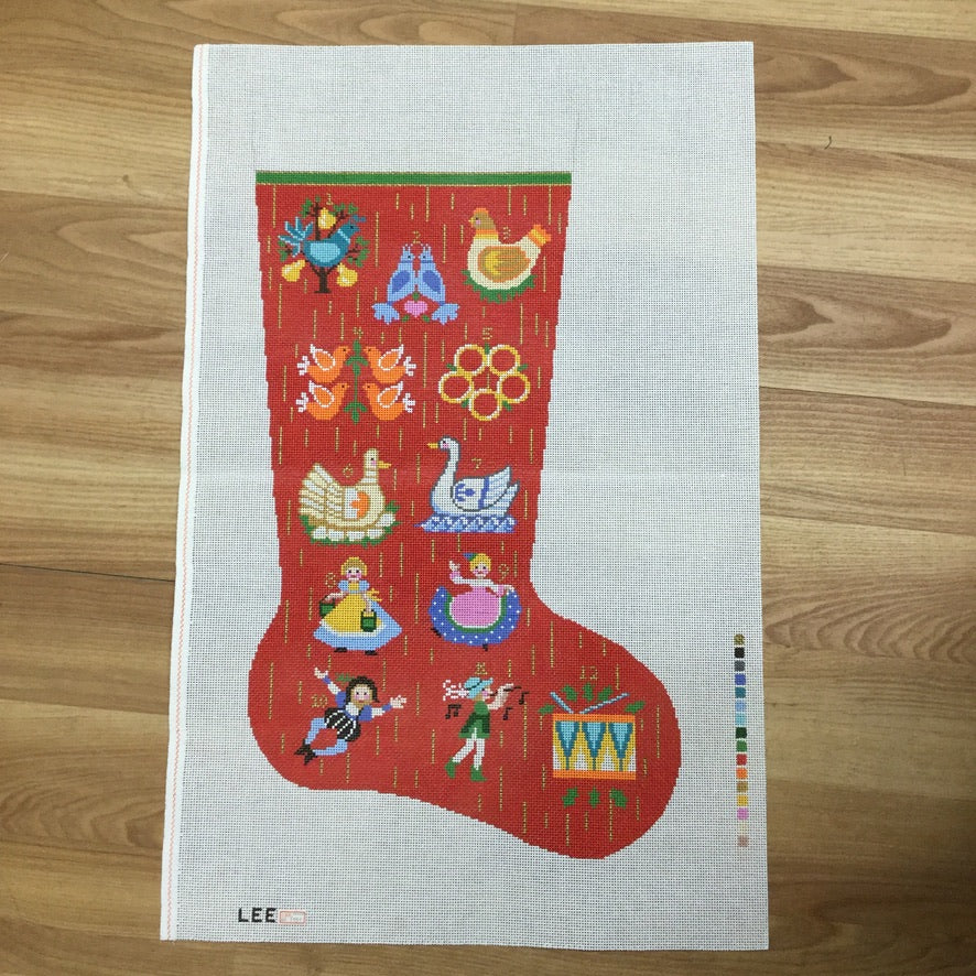 12 Days of Christmas Stocking Canvas-Needlepoint Canvas-Lee's Needle Arts-KC Needlepoint