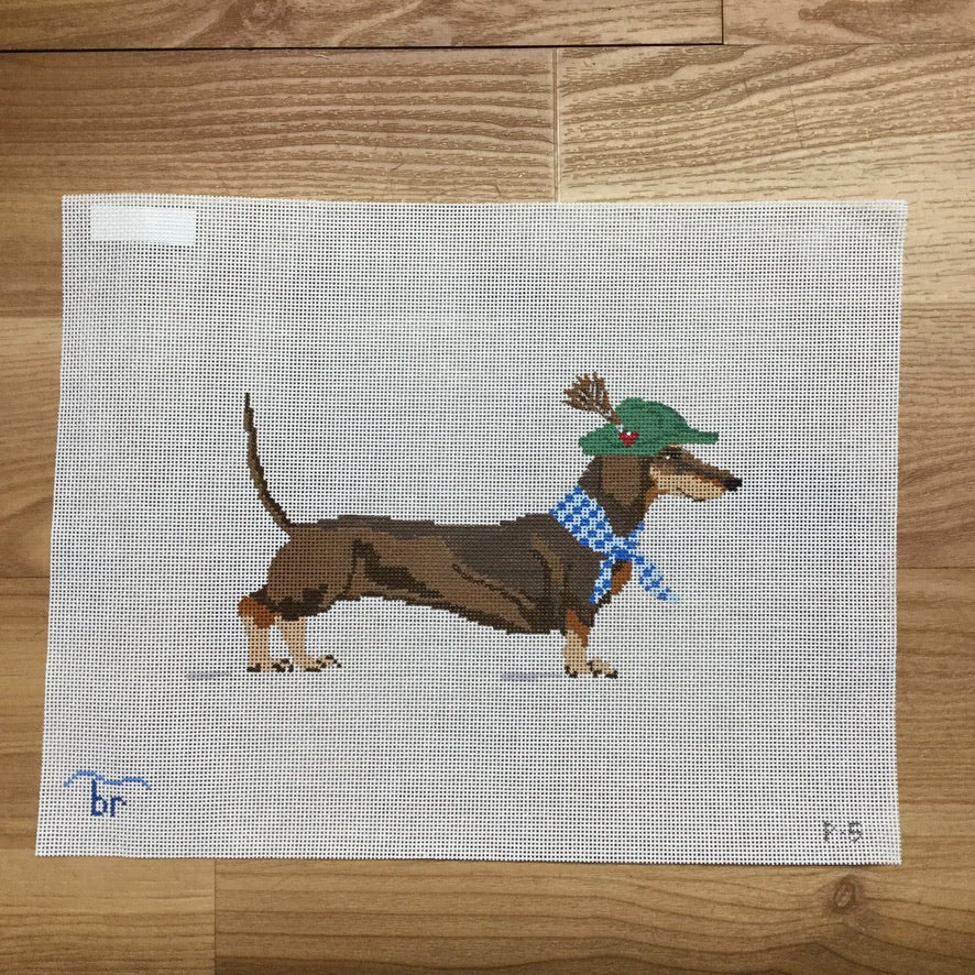 Dackel the Dachshund Canvas-Needlepoint Canvas-Blue Ridge Stitchery-KC Needlepoint