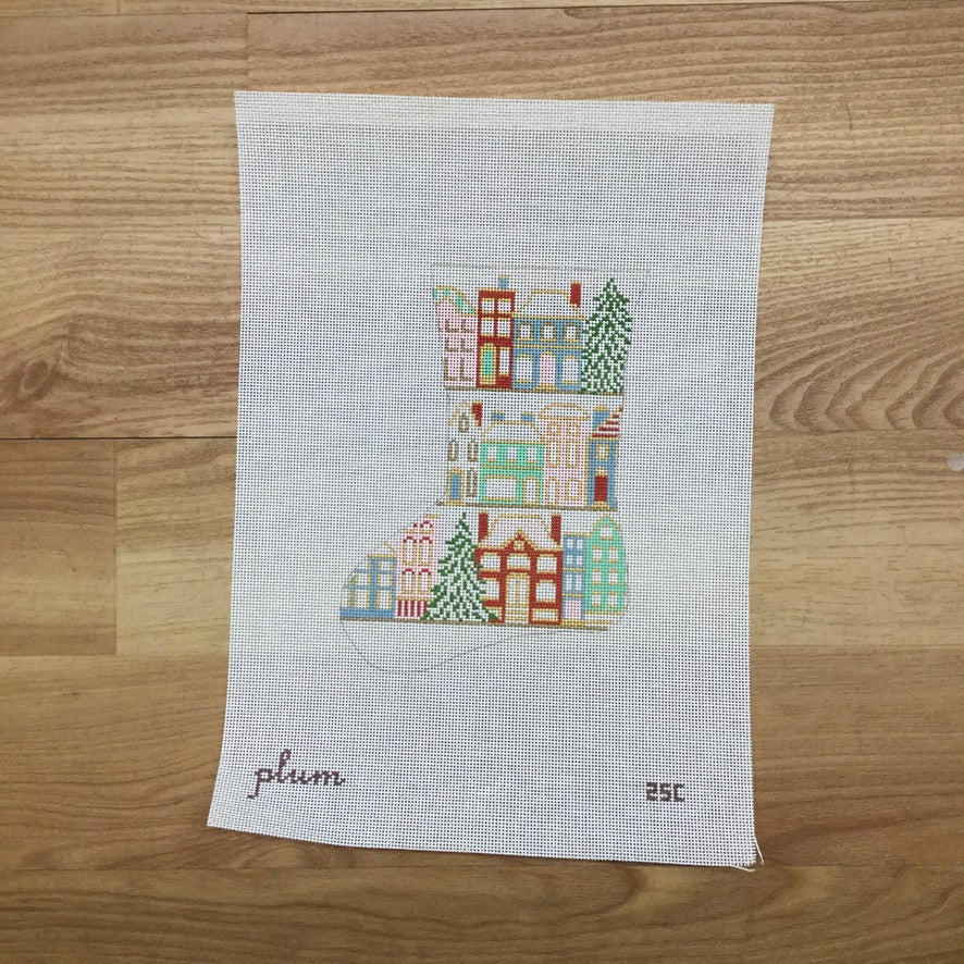 Christmas Time in City Mini Sock Canvas - needlepoint