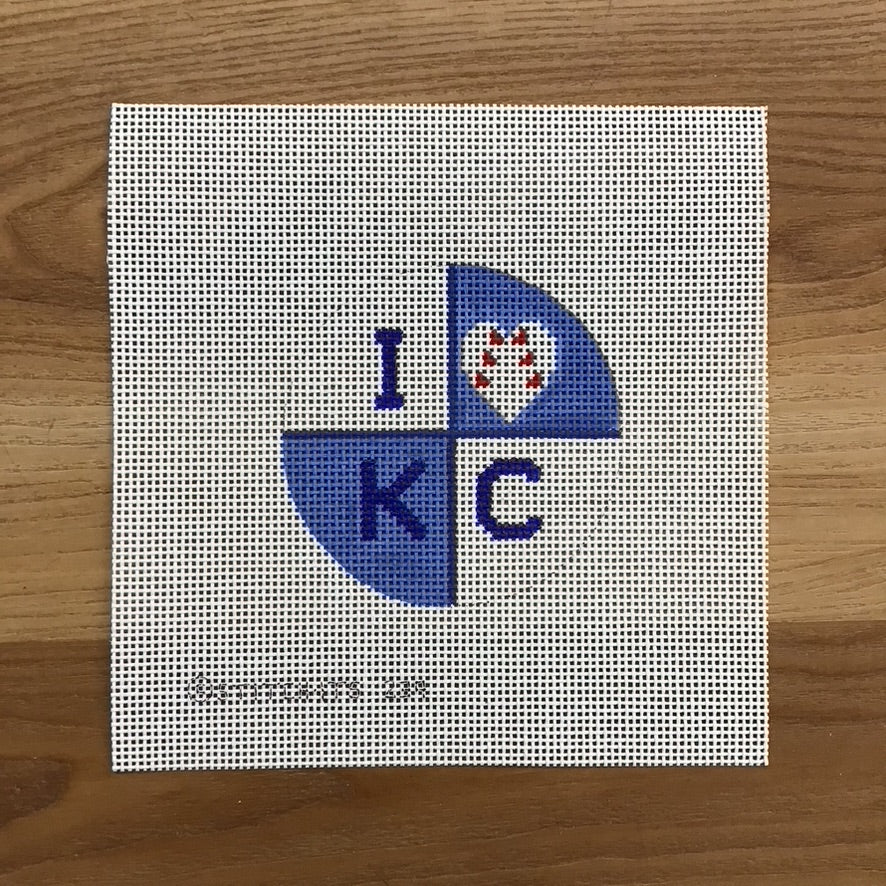 I Baseball KC Needlepoint Canvas