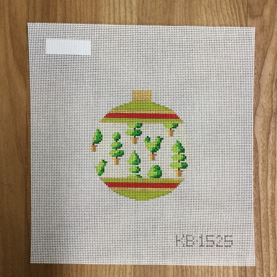 Holiday Bauble Topiaries Canvas - needlepoint