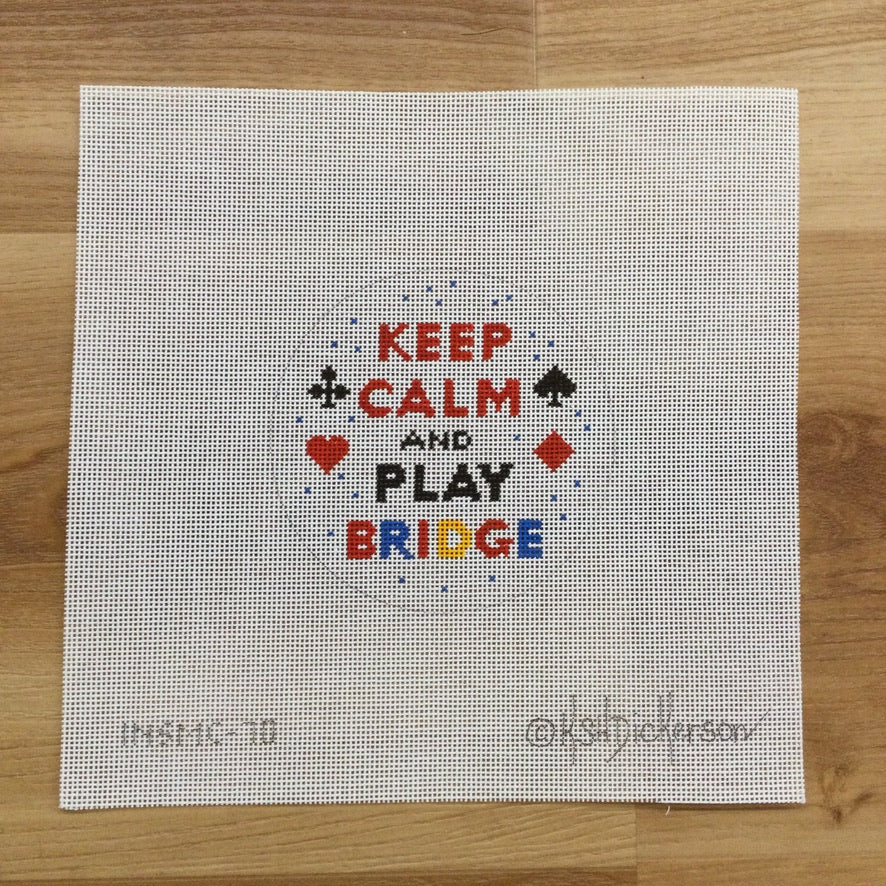 Keep Calm and Play Bridge Round Canvas - needlepoint